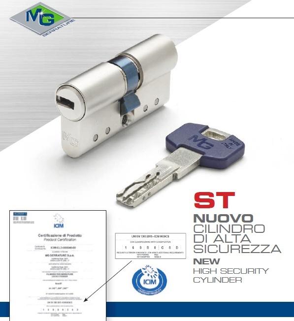 Nuovo cilindro di sicurezza MG Serrature - ST - profilo europeo